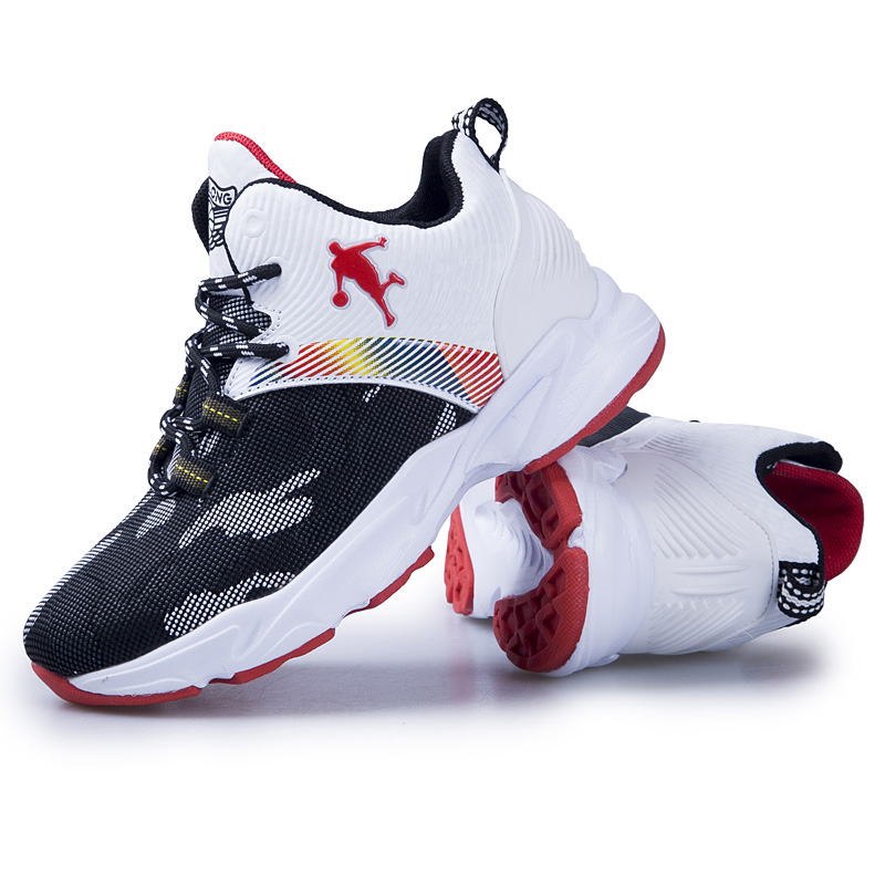 Brand Non-slip Rubber Kids Sneakers Black Boys Basketball Shoes Outdoor Children Sport Shoes Students Basket Trainers Shoes Red