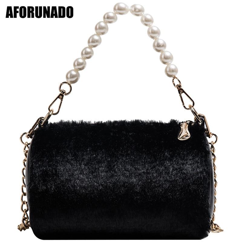 Luxury Handbags Women Bags Designer Faux Fur Pearl Shoulder Bags Fashion Party Barrel-Shaped Tote Crossbody Bags For Women 2019