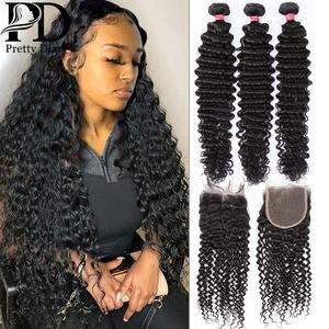 Brazilian Human Hair Deep Wave 3 and 4 Bundles with Closure Curly Hair Weave 8-32 inch Lace Frontal Remy Wave Hair Extensions