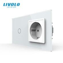 Livolo ab standardı dokunmatik anahtarı, kristal cam Panel, AC 220 ~ 250V 16A duvar soket fiş ile ışık anahtarı