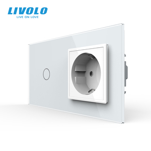 Image 2 - Livolo euの標準タッチスイッチ、クリスタルガラスパネル、ac 220 〜 250v 16A壁ソケットプラグ光スイッチ