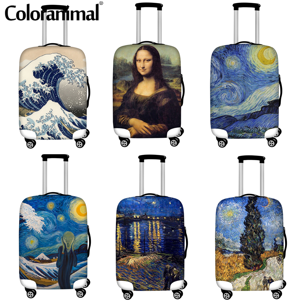 Coloranimal Travel Luggage Suitcase Protective Cover Van Gogh Oil Painting Starry Sky Print Dust Luggage Cover Travel Accessorie
