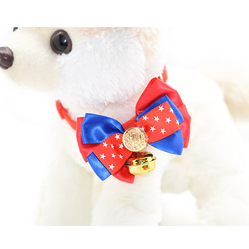 11-Pet Supplies Cat Fashion Dog Bow Tie Large Bow Star Bell Neck Ring