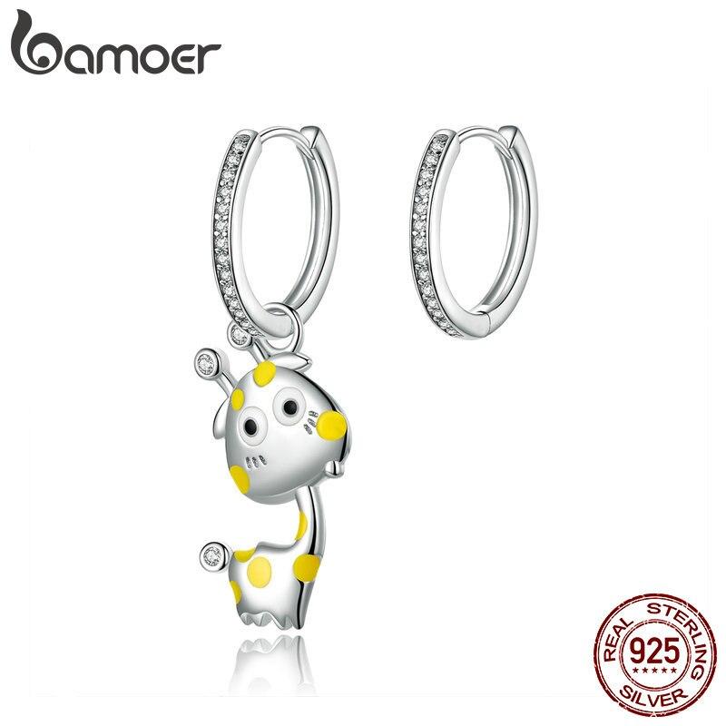 BAMOER Enamel Giraffe Asymmetry Hoop Earrings For Women 925 Sterling Silver Animal Earring Korean Style Jewelry BSE108