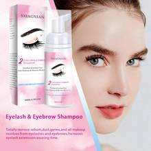 50ml cílios extensões escova shampoo kit eye lash extensão cola rímel limpeza espuma bomba design sem estimulação maquiagem tslm1