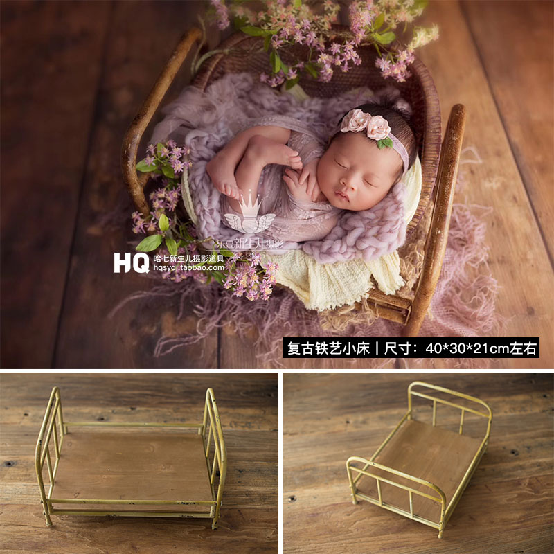 2020 Vintage Newborn Photography Iron Bed Baby Photoshooting Props Classic Infant Photo Studio Wood Crib Basket Accessories
