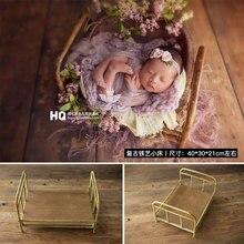 2020 accesorios clásicos para fotografía de recién nacidos, cama de hierro para sesión de fotos de bebés, accesorios clásicos para estudio fotográfico de niños, cesta de madera para cuna