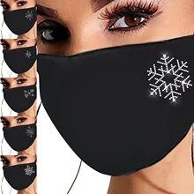 Máscara facial moda natal floco de neve e-lement strass padrão máscara d-ustproof algodão máscara