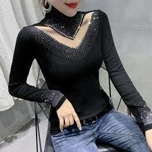 New 2020 Autumn Long Sleeve Black t-shirt Fashion Casual Turtleneck Diamond Woman tshirts Elegant slim women's shirt blusas