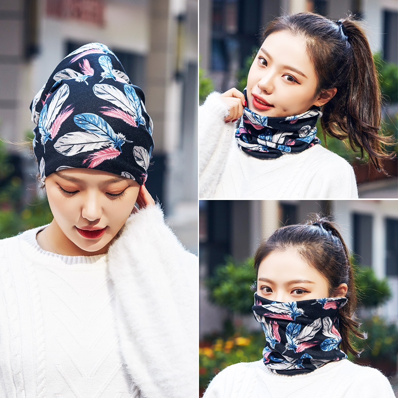 Scarf Women's Winter New Style Thick Warm Scarf Hat Dual Purpose Students Korean-style Versatile Pullover Bandana Fashion