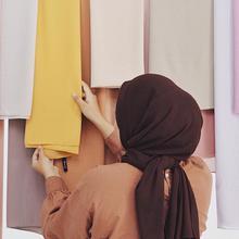 Muslim Women Wrap Headscarf Hijab Pashmina Long Shawl Islamic Premium Summer Plain/solid-Color