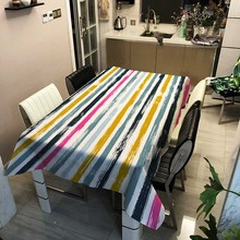 Nordic Linen Tablecloth Yellow Plaid Striped Printing Multicolor Table cloth Decor Rectangular Tea Table Pad Meal Cloth Cover