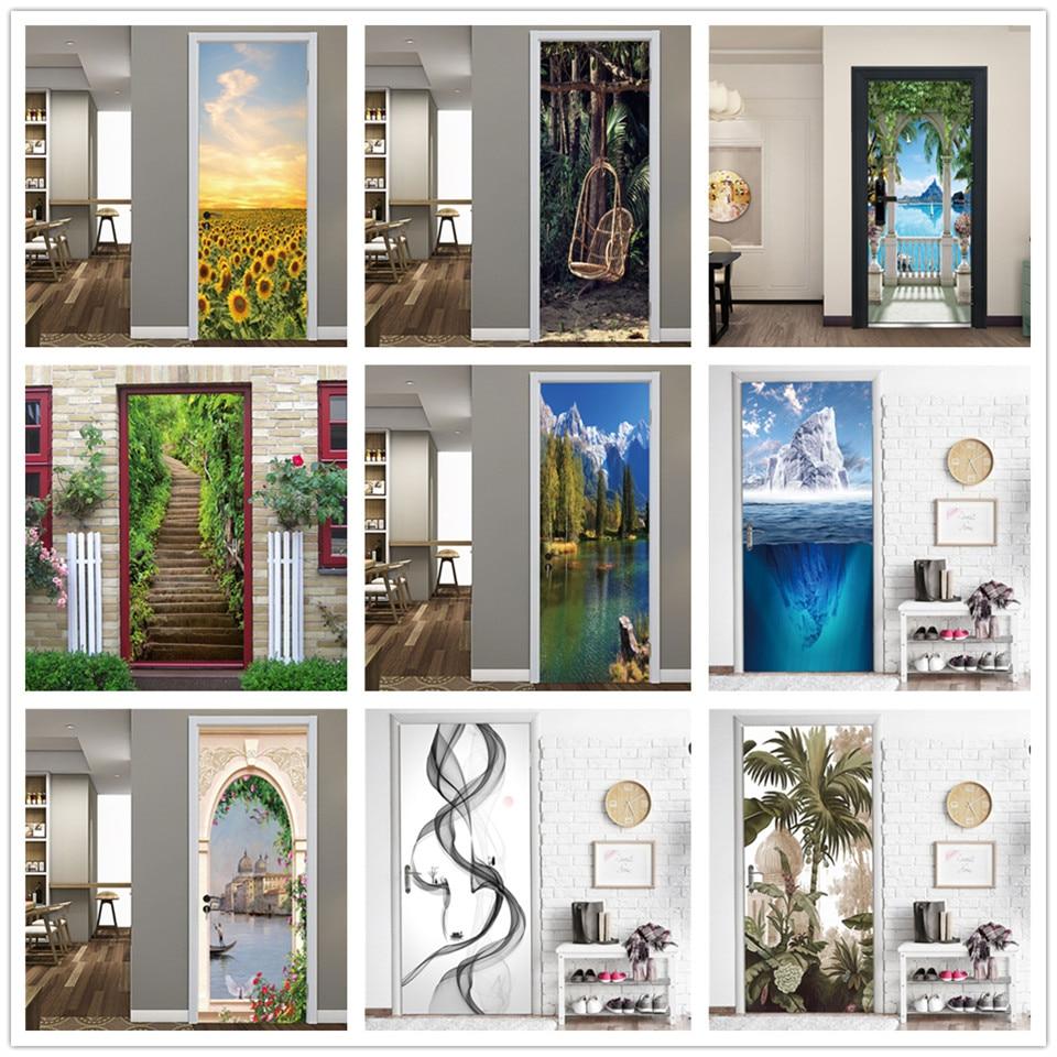 Natural Scenery Stickers On The Doors DIY Peel And Stick Wallpaper Vinyl Wood Door Wardrobe Renovation Decals Poster Deurposter