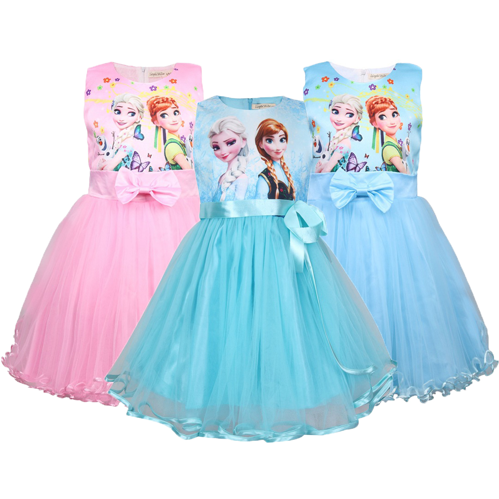 Snow Queen Girls Dress Elsa Anna Dresses For Girls Birthday Gift Costume Party Princess Tutu Girs Summer Dress Children Clothing