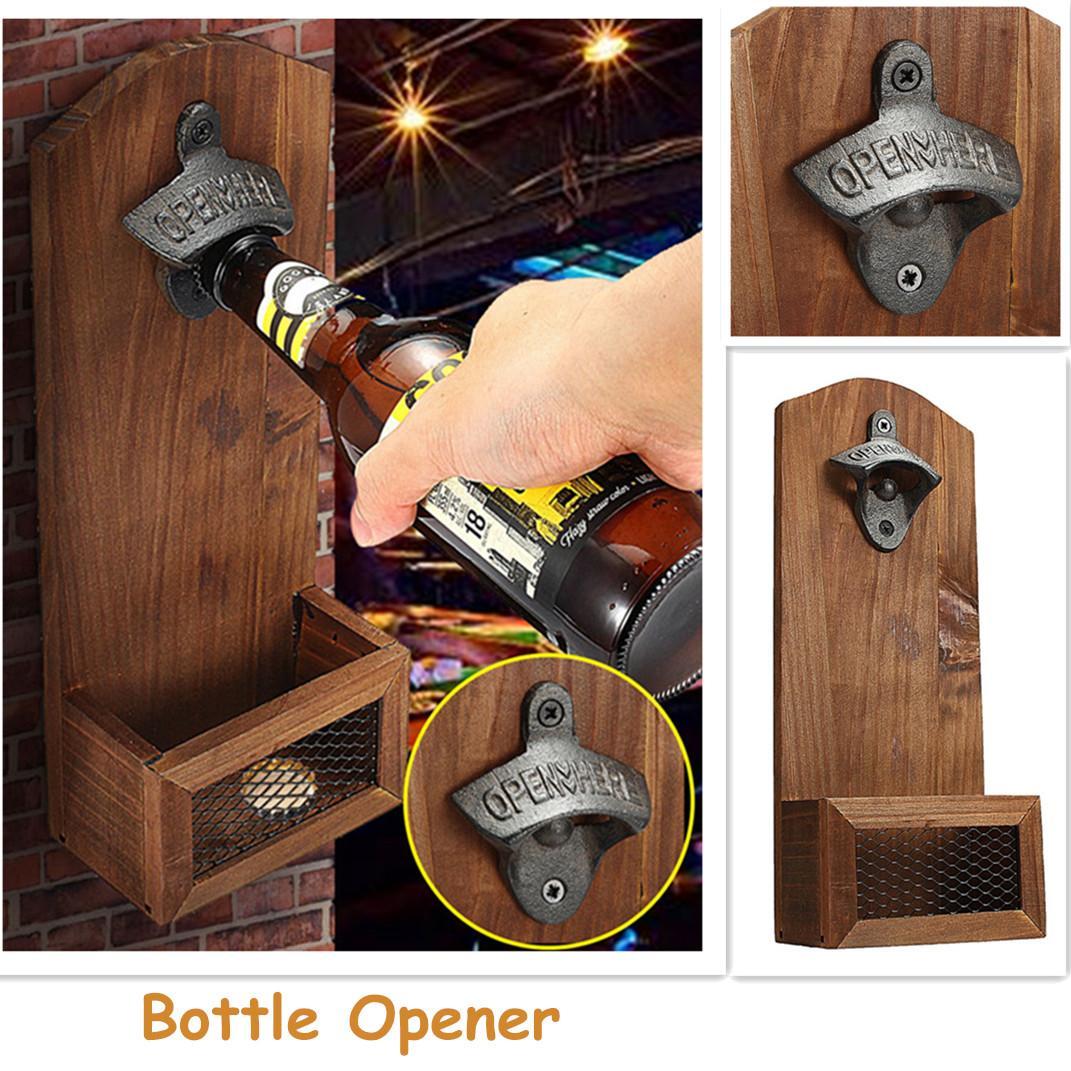 Vintage Wall Bottle Opener Antique Iron Wall Mounted Bar Beer Glass Bottle Cap Opener Kitchen Tools Wall Decro Beer Cap Opener
