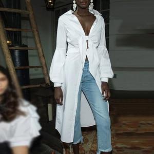 Image 4 - CHICEVER Sexy Bowknot Irregular Shirts Female Lace Up Tunic Deep V Neck Lantern Sleeve White Shirt 2020 Spring Fashion Clothing