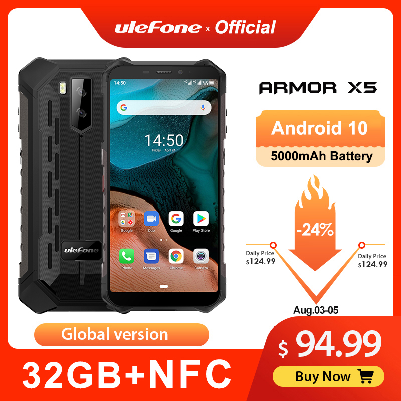 Ulefone Armor X5 Android 32GB 3GB GSM/WCDMA/LTE NFC Octa Core Face Recognition 13mp New