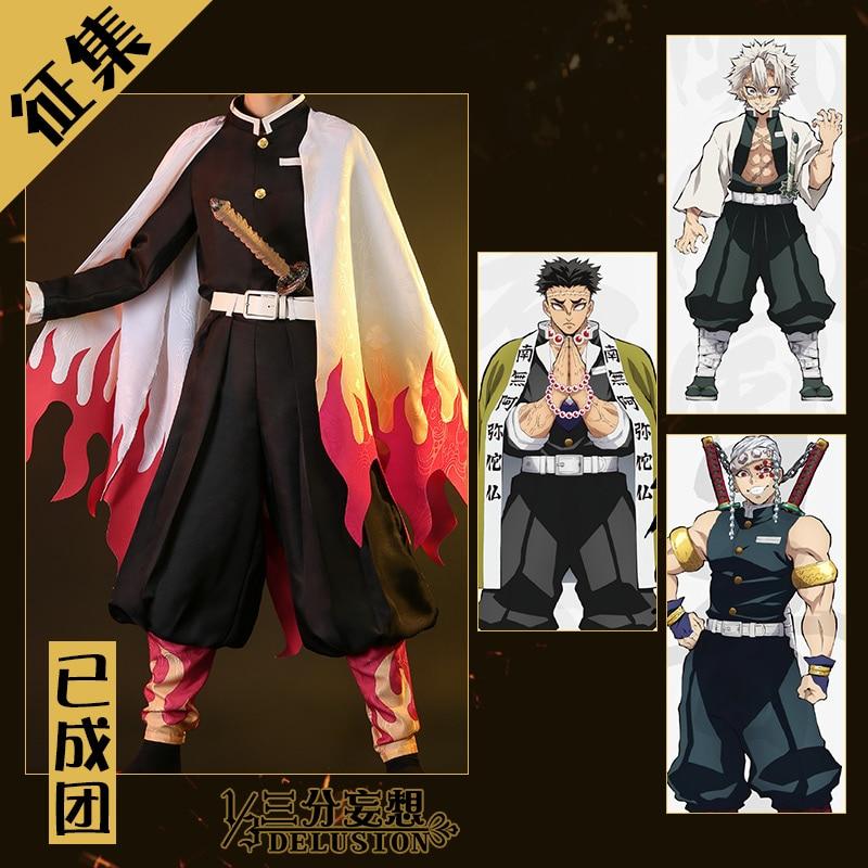 Demon Slayer Cosplay Costume Rengoku Kyoujurou Kimono High Quality Original Design Uniforms Free Shipping