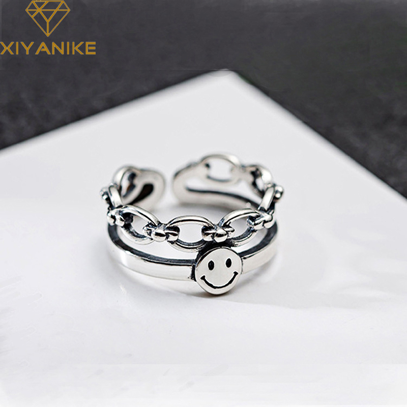 XIYANIKE 925 Sterling Silver New Fashion Punk-Style Party Jewelry Women Lovers Creative Geometric Smile-Face Opening Rings