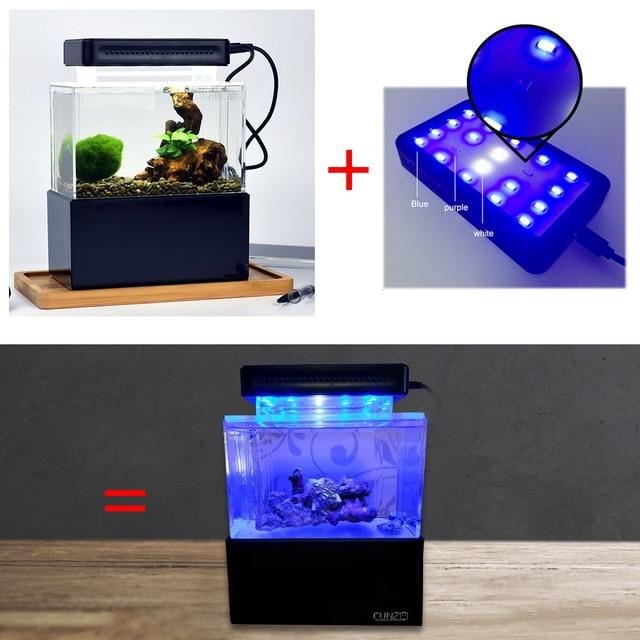 Upgraded Mini Plastic Fish Tank Blue LED Lihgt Desktop Aquarium Fish Bowl with Water Filtration Quiet Air Pump Mini Aquarium