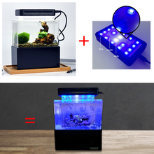 Upgraded Mini Plastic Fish Tank Blue LED Lihgt Desktop Aquarium Fish Bowl with Water Filtration Quiet Air Pump Mini Aquarium super quiet aquarium oxygenated air pump for fish tortoise light grey 70cm cable