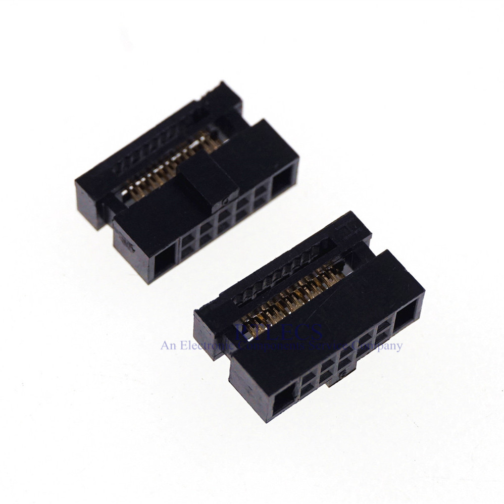 100 Pcs 0.050 1.27mm 10 Pin dual Row IDC Connector 2x5 P 10 position Rectangular Female Socket Receptacle Ribbon Cable image