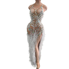Outfit Rhinestones-Dress Fringes Crystal Celebration Pearl Birthday Women Lace Evening-Party