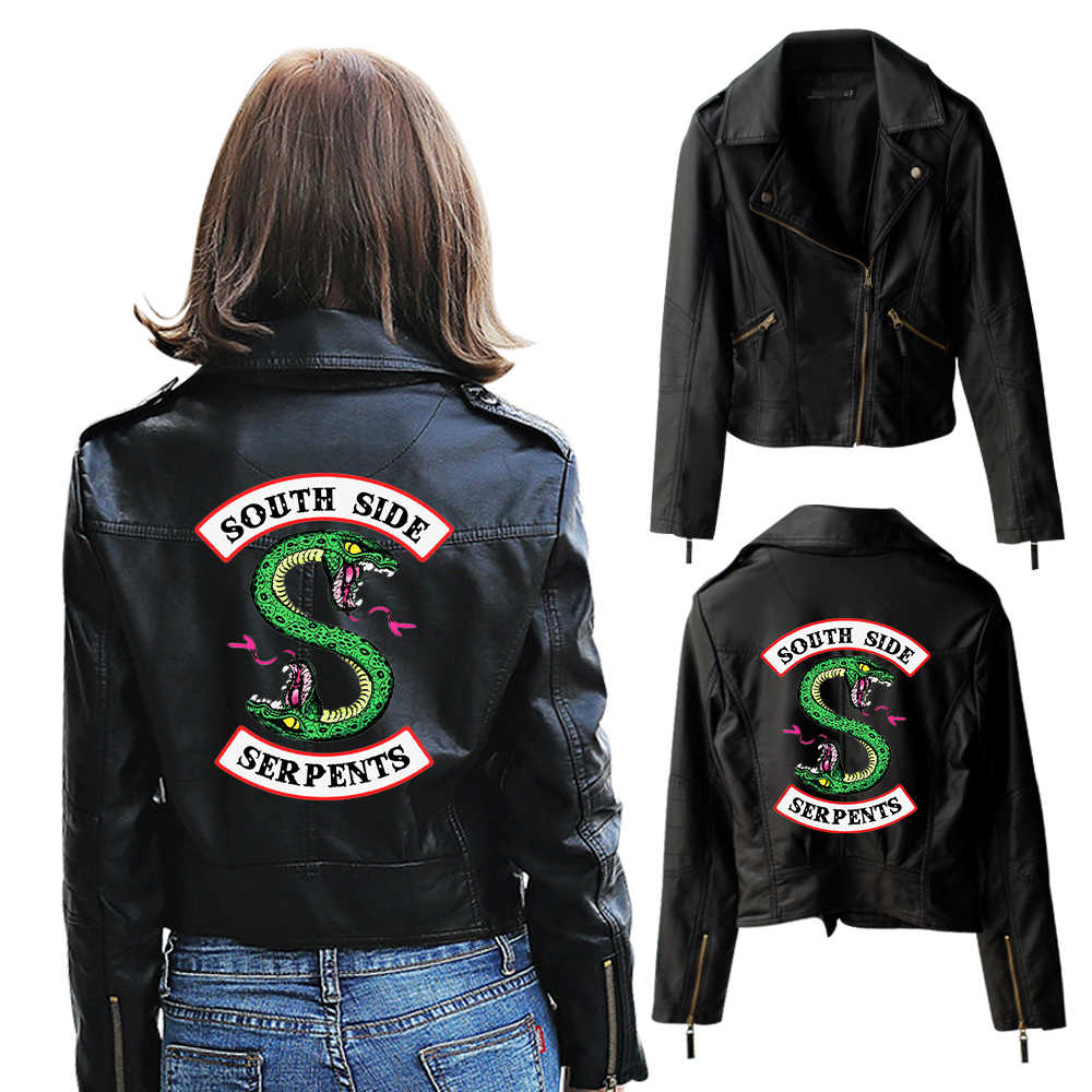 2019 New Riverdale PU Jackets Printed Southside Riverdale Serpents Jacket Women Riverdale Serpent Streetwear Leather Jacket