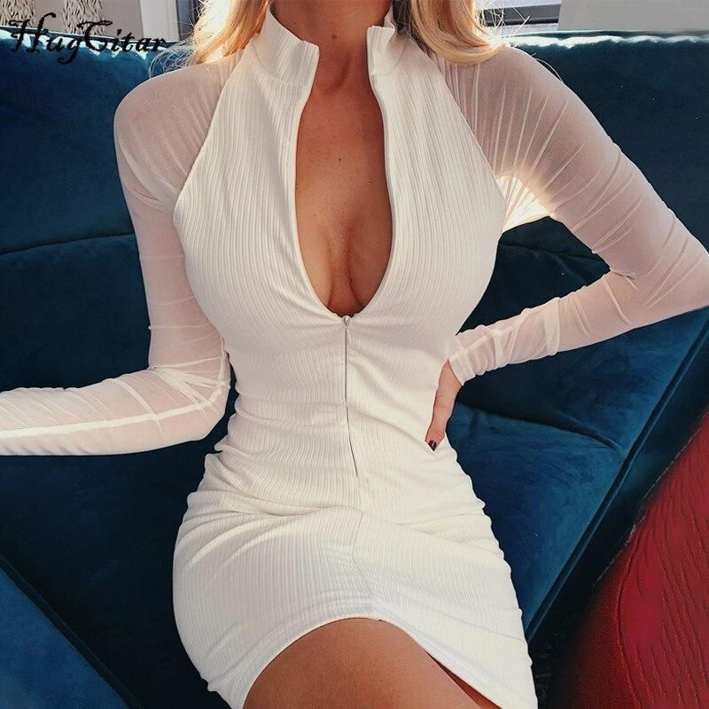 Hugcitar 2020 mesh long sleeve patchwork zipper sexy bodycon mini dress summer women fashion streetwear outfits sundress