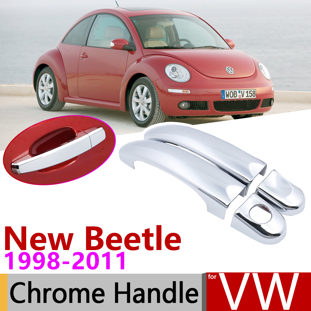 for Volkswagen VW New Beetle 1998 2011 Chrome Door Handle Cover Car Accessories Stickers Trim Set 1999 2001 2003 2005 2007 2010