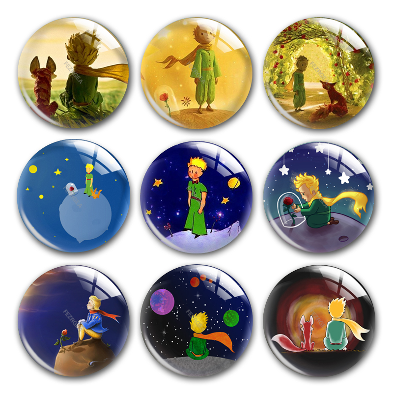 The Little Prince Glass Cabochon, Round Photo The Little Prince Rose Fox Planets Glass Cabochon Demo Flat Back Making Findings.