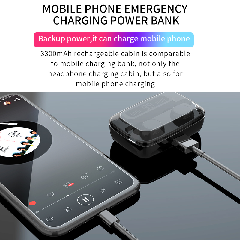 lowest price Wireless Earphones Bluetooth V5 0 TWS Wireless Bluetooth Headphones LED Display With 3300mAh Power Bank Headsets With Microphone