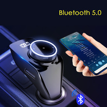 5,0 Bluetooth Kit de coche transmisor inalámbrico de Fm adaptador de Radio modulador FM manos libres Bluetooth MP3 jugador TF soporte Flash USB