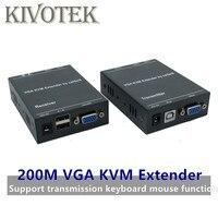 Red IP 200M Extensor VGA a través de Cat5e/6 1080P RJ45 Vga Extender sobre TCP/IP con KVM teclado ratón transmisión TX vga LoopOut