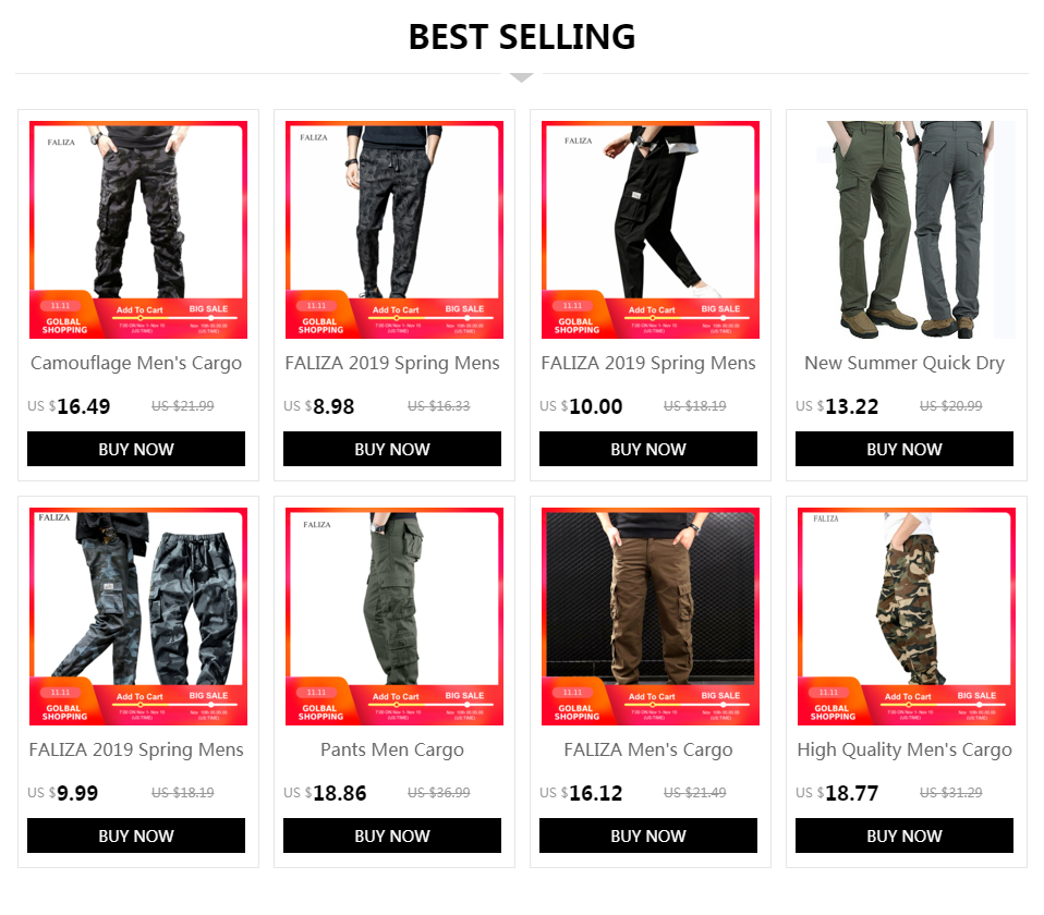 FALIZA Men's Cargo Pants Multi Pockets Military Style Tactical Pants Cotton Men's Outwear Straight Casual Trousers for Men CK102 13