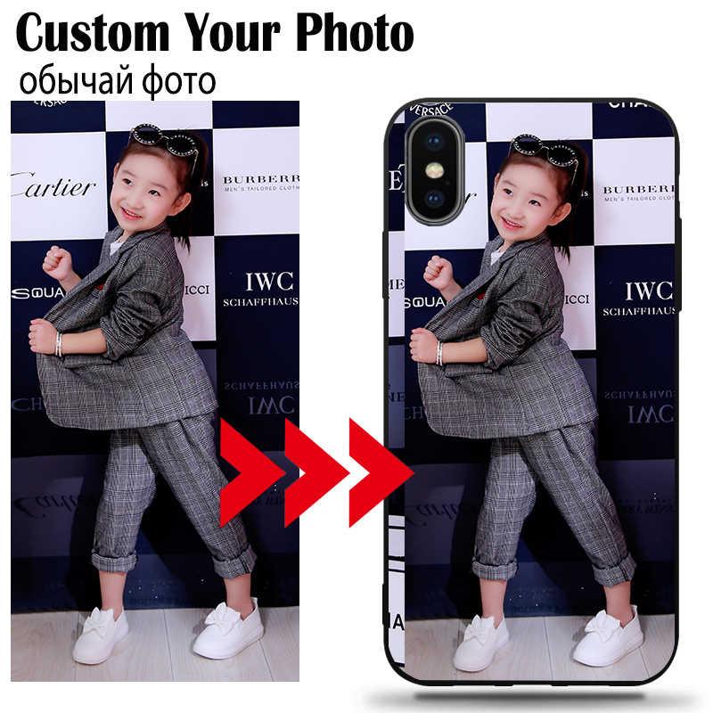 DIY CUSTOM Photo โทรศัพท์กรณีสำหรับ Xiaomi Redmi 4 4X Pro K20 8A 8 7 7A 6A 6 5 4X PLUS หมายเหตุ 8 7 6 5A Soft TPU ฝาครอบสีดำโลโก้ชื่อ