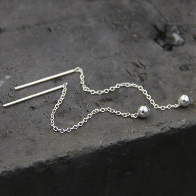 Fyla Mode Fashion Cute Ear Wire Earrings Female Models Long Drop S925 Pure Silver Jewelry Dangle Earrings Brincos TYC169 in Earrings from Jewelry Accessories