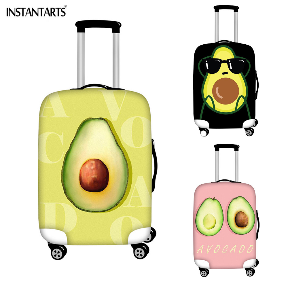 INSTANTARTS Cute Avocado Green Patterns Luggage Cover Women Men Travel Accessories Thick Suitcase Protector Covers Waterproof