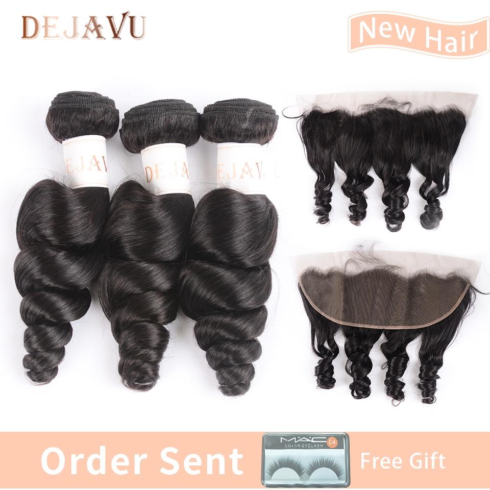 Dejavu Brazilian Hair Weave Bundles With Frontal Closure 13*4 Inch Human Hair 3 Bundle Deals Loose Wave Non Remy Hair
