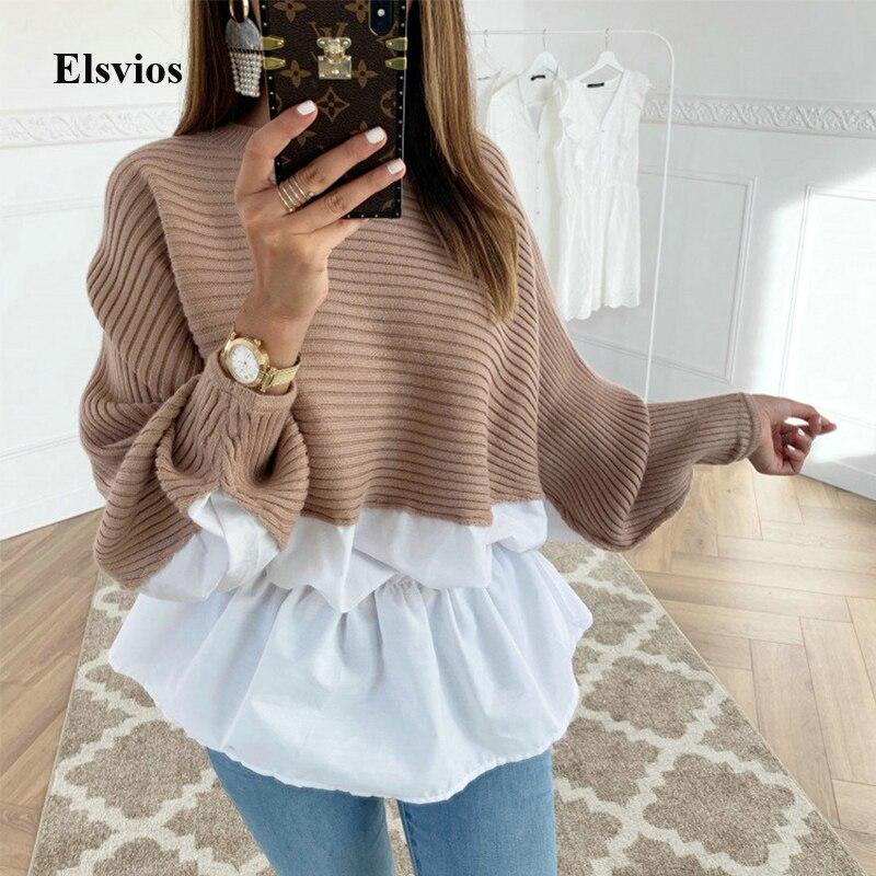 Elsvios Casual Women Patchwork Ruffles Shirt Blouse Elegant O-Neck Sweatshirt Pullover Autumn Batwing Long Sleeve Blusas Tops XL