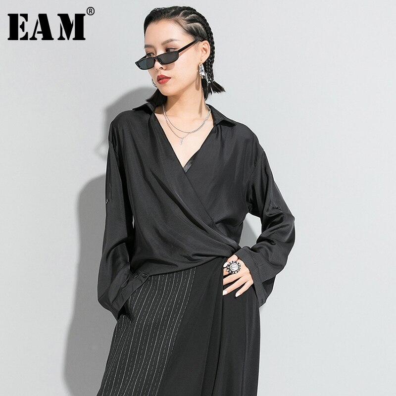 [EAM] Women White Fold Asymmetrical Split Brief Loose T-shirt New V-Neck Long Sleeve  Fashion Tide  Spring Autumn 2020 1R632