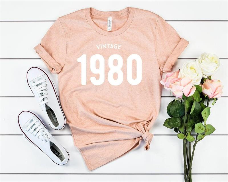 H4f969264c698494e8e1001abb9a7a61b7 - Vintage 1980 40th Birthday Party Shirt Funny Graphic Cotton Women Tshirt Short Sleeve Tees Plus Size O Neck Female Gift Clothing