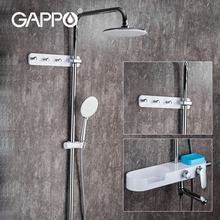 GAPPO Bath Shower System Mixer Rotate Tub Spout Wall Mount Rainfall Shower Head With Handshower Rainfall Shower Mixer Faucet wall mount adjust height sliding bar shower faucet set wall mount rotate tub spout with soap dish antique brass finish