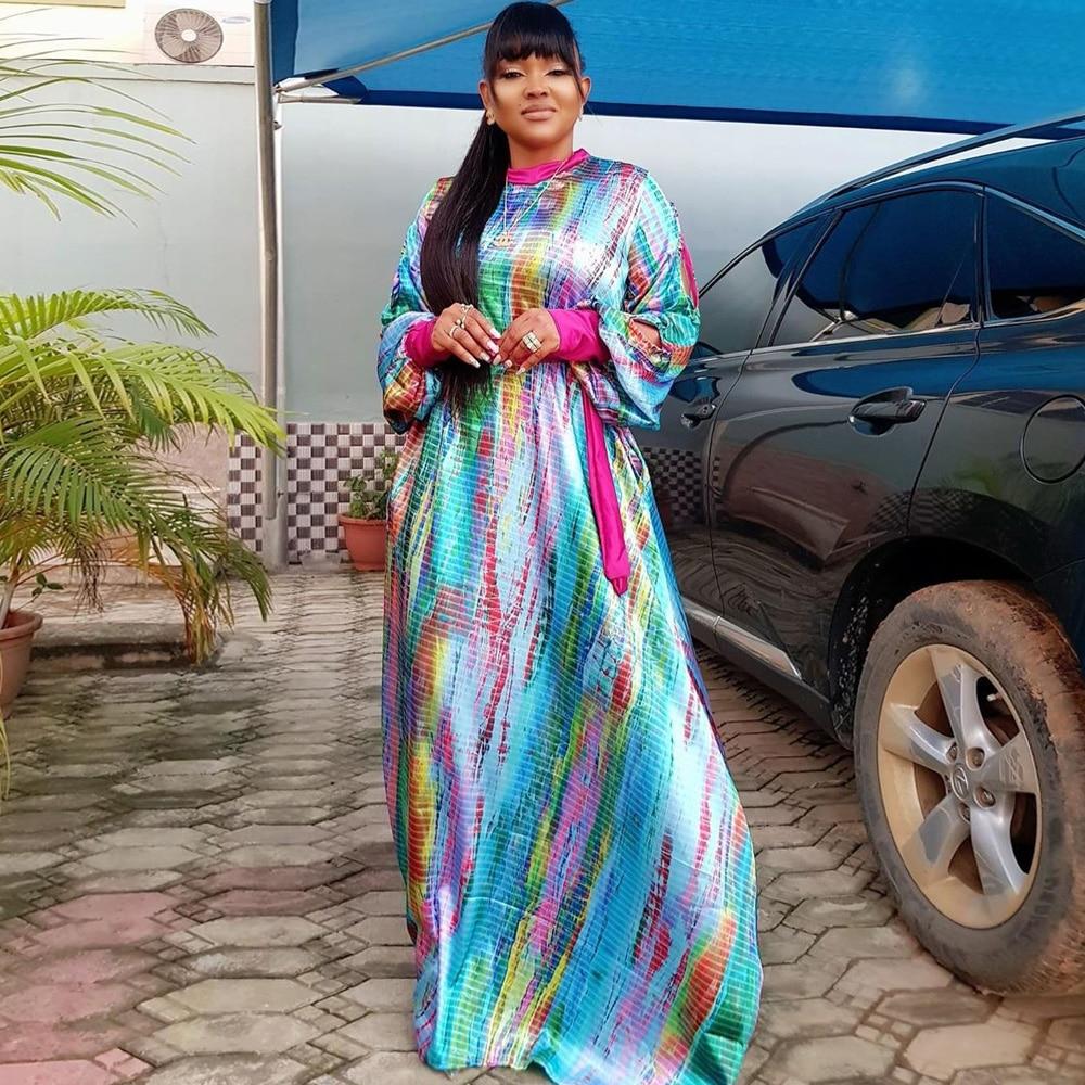 Charming Italian Print Silk Kaftan Dresses Free Size Dashiki Silk Boubou Dresses African Dreses For Women African Bazin Fabric