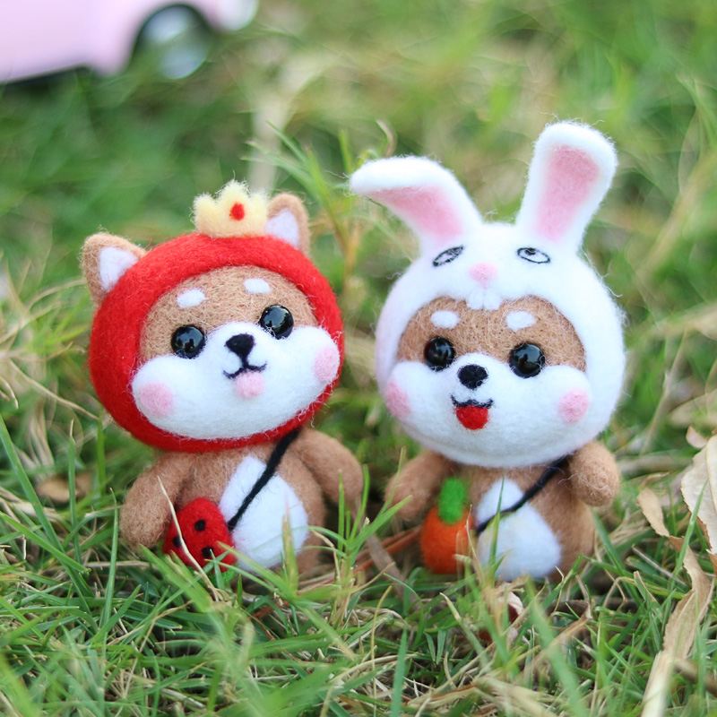 Watermelon Fox Head Rabbit Cute Animal Wool Needle Felting Fashion Hot Handmade DIY Doll Toy Material Package Unfinish