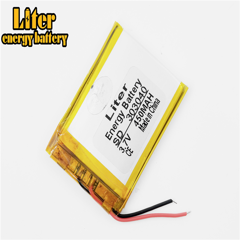 <font><b>3.7V</b></font> lithium battery 303040 <font><b>450mah</b></font> GPS MP3 MP4 navigator card audio Rechargeable Li-ion Cell image