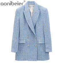 Aonibeier 2021 primavera otoño oficial traje de doble botonadura chaqueta con cuello en V de manga larga con bolsillo de azul para mujer chaqueta