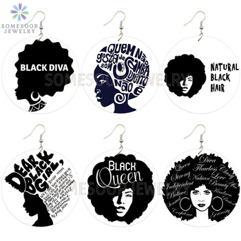 SOMESOOR Dear Black Girl Queen Diva Africa Natural Hair Wood Drop Earrings Afro Ethnic Print Wood Dangle Jewelry For Women Gifts