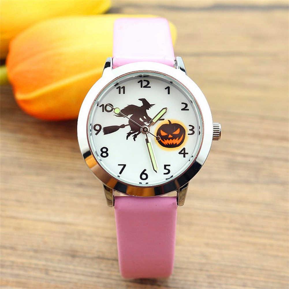 Linterna de calabaza de cuero reloj de cuarzo mujer niños niña niño niños pulsera reloj de pulsera reloj femenino