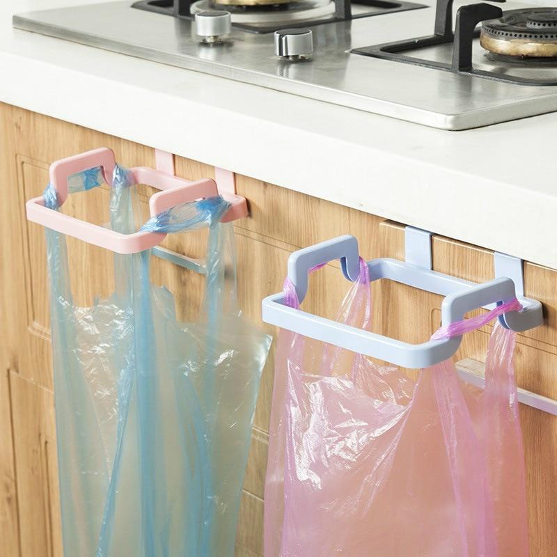 Trash Bag Holder Wipers Rack Kitchen Cupboard Hanger Shelf Over Door Rack Bar